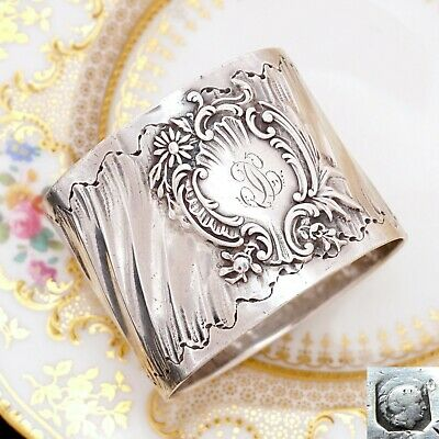 Antique French Sterling Silver Napkin Ring, Ornate Louis XVI/Rococo Swirled & Fl