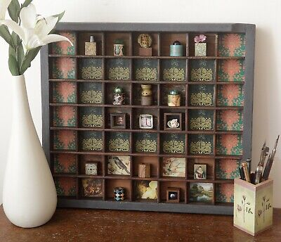 Lovely Decorative Display Artwork in Up Cycled Old Wooden Printers Type Case