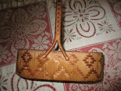 Antique Primitive Early American Hand Woven Basket