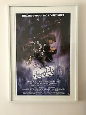 Star Wars Signed Poster Empire Strikes Back Dav Prowse Darth Vader Coa Autograph