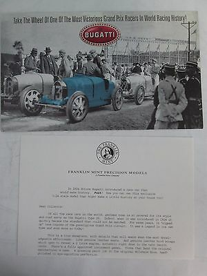 Franklin Mint Brochure 1924 Bugatti Type 35 Open Wheel Racer