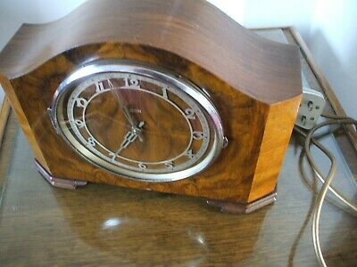Smiths Vintage Late Art Deco 240V  Electric Striking Mantle Clock V G C 1950S