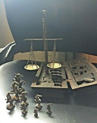 Antique Opium Apothecary Wooden Scale with 8 original weights and original box