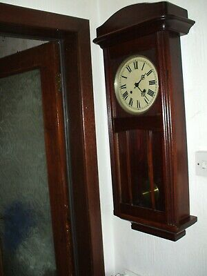 Vintage German Striking 8 Day Wall Clock  Art Deco  Vg Condition 85 Cm 32 Inches
