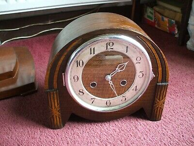 Vintage Smiths Enfield Art Deco 8 Day Striking Mantle Clock V Good Condition