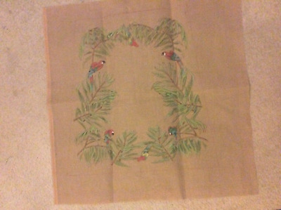 Hand Painted Tapestry Canvas With Parrot Design