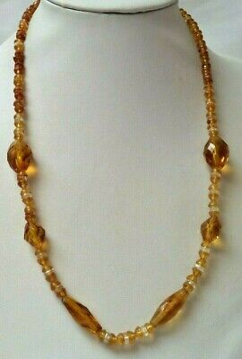 "Stunning Antique Estate 1930'S Art Deco Cut Amber Glass 22"" Necklace!!! 2300H"