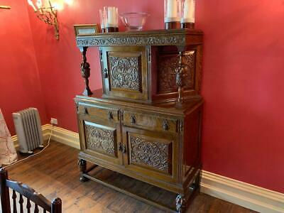 Superb Early 20th Century 17th Century Style Carved Oak Court Cupboard Exc Cond