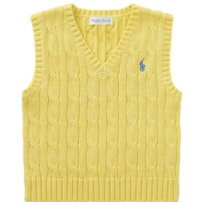 Genuine Ralph Lauren boys polo  cable cotton tank top jumper vest 9,12,18,24m