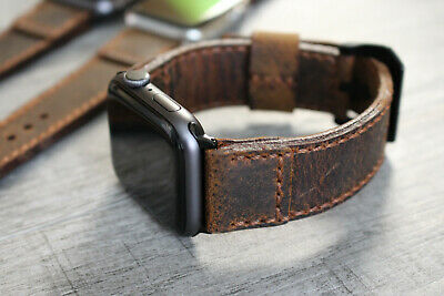 For Apple Watch 5 4 42/44mm Handmade Brown Bull Leather watch Strap iwatch Band