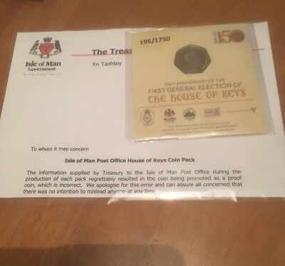 2017 IOM PROOF RECALLED ERROR HOUSE OF KEYS 50P Fifty Pence  LIMITED EDITION