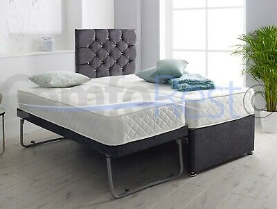 """(Guest Bed) 3FT SINGLE GUEST DIVAN BED 3 IN 1 WITH MATTRESS + 24"""" IBEX Headboard"""
