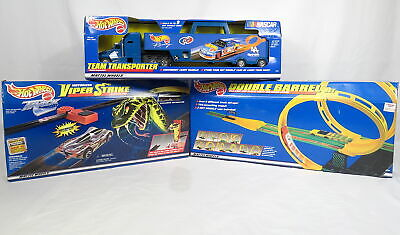 Lot 3 Mattel Hot Wheels Race Track Team Transporter NASCAR Viper Double Barrel