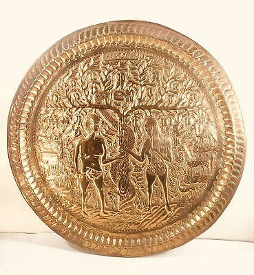 A Middle Eastern Judaica Copper Tray Damascus SYRIA With Adam And Eve Scene