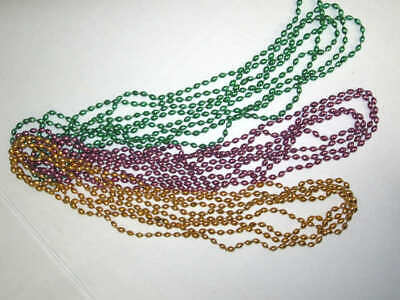 Lot of 12 Mardi Gras Necklaces Oval Beads pretty colorful throwing party favors