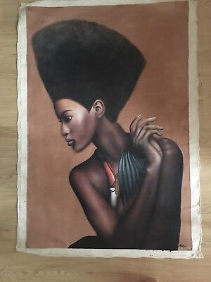 African Woman Tribal Portrait Brown Realistic Large Painting Oil Canvas Wall Art