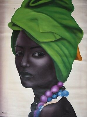 African Woman Tribal Portrait Green Realistic Large Painting Oil Canvas Wall Art