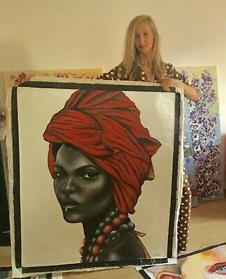 African Woman Tribal Portrait Red Headscarf Large Painting Oil Canvas Wall Art