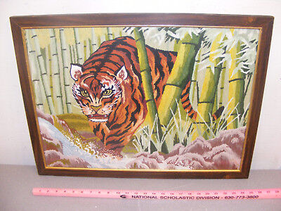 Vintage Large Framed Needlepoint of Tiger in Bamboo Forest 25x19 FREE SHIPPING!