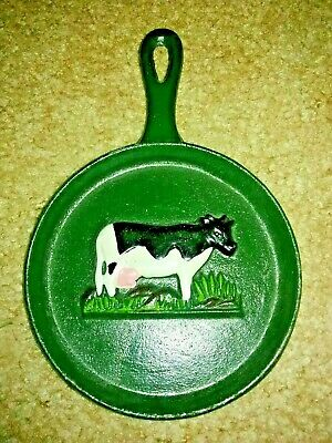 Miniature Cast Iron Skillet With Dairy / Holstein Cow 8""