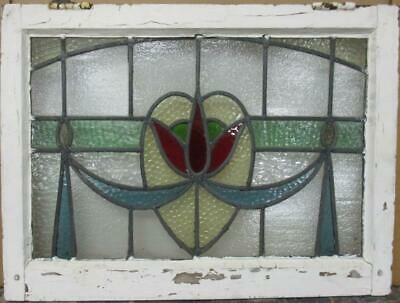 "MIDSIZE OLD ENGLISH LEADED STAINED GLASS WINDOW Pretty Floral Swag 25"" x 18.5"""