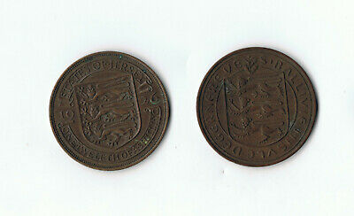 1926 STATES OF JERSEY 1/12 SHILLING 31mm, 1956 GUERNSEY 8 DOUBLES COIN 31mm