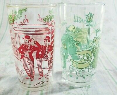 2 Vintage Drinking Glasses Classic Antique Cars 1901 Packard 1907 Maxwell
