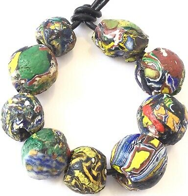 9 Old Antique Venetian Millefiori Recycled Ghana African Glass Trade beads-Ghana