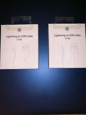 Two (2) Original OEM Apple iPhone XS Max X 8 7 6S Lightning USB Cable Charger 1M