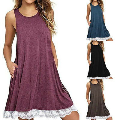 Women's O Neck Casual Lace Solid Sleeveless Knee Dress Loose Party Mini Dresses