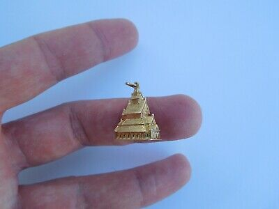 Antique Norway 14K 585 Solid Gold Norwegian Viking Stave Church OE Pendant !🇳🇴