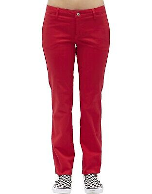 Dickies Girl Juniors' Straight Leg TWILL 3 POCKET SIZE 5 Pants, RED STRETCH