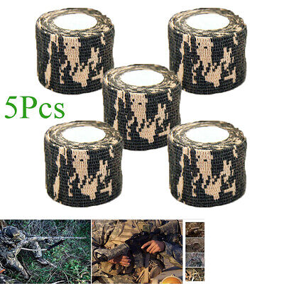 5Pcs 4.5m Self Adhesive Non-Woven Camouflage Wrap Hunting Camo Stealth Tape