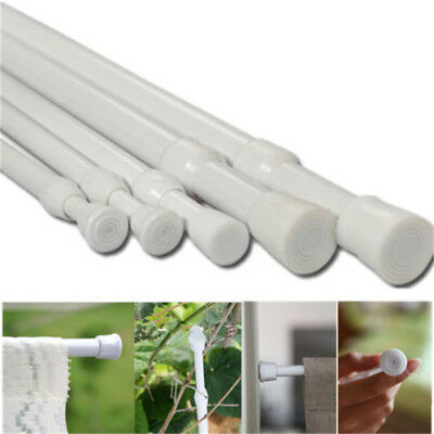 UK Spring Load Extendable Telescopic Net Voile Tension Curtain Rail Pole Rods No