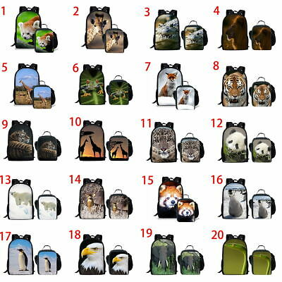 "Panda Penguin Girls School Bags17""  Backpack Teens Boys Laptop Rucksack Lunchbox"