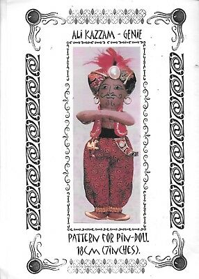 "Ali Kazzam Genie 7"" cloth doll pattern sewing 18cm pin doll instructions"