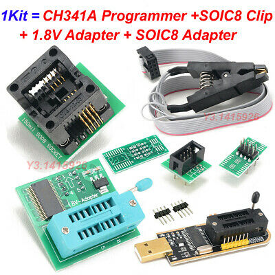 EEPROM BIOS USB Programmer CH341A + SOIC8 Clip + 1.8V Adapter +SOIC8 Adapter Kit