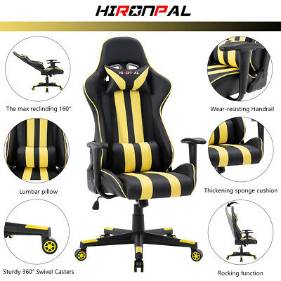 Luxury Executive Racing Gaming Chair Swivel Recliner Computer Office PU Leather