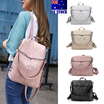 AU Women's Girls Leather Backpack Anti-Theft Backpack School Travel Shoulder Bag