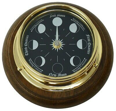 Tabic Prestige Solid Brass Moon Phase Clock Mounted on an English Oak mount
