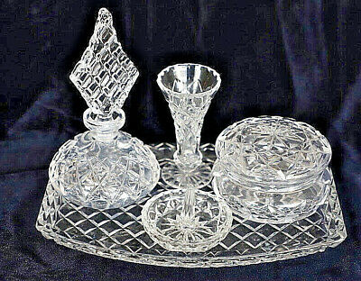 Vintage Retro Cut Crystal Dressing Table Set Perfume Bottle with ring holder