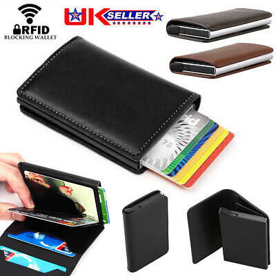 Mens Leather ID Credit Card Holder RFID Protector Money Wallet Clip Card Case MG