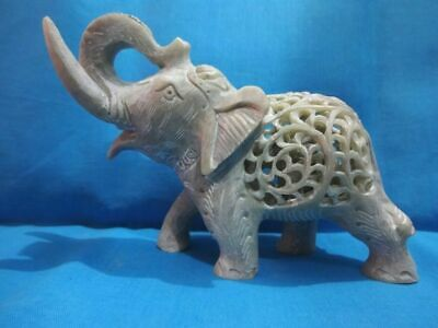 Indian Very Beautiful Handmade Soapstone Undercut Gift Elephant Statue