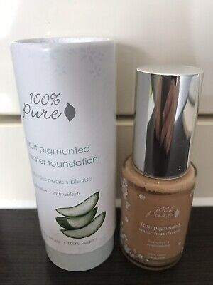 100% Pure Fruit Pigmented Water Foundation Small Amount Used! Peach Bisque.Vegan
