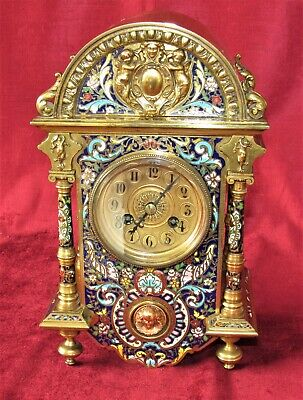 Top Quality French Enamel Striking Mantle Clock