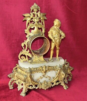 Nice French Gilt Mantle Clock Case With Figure