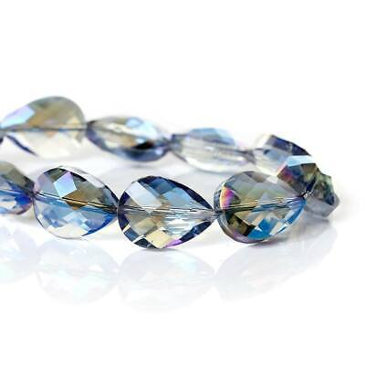 5 PCS Loose AB Blue faceted glass teardrop beads (3) size 18x13mm