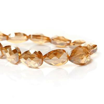 5 PCS Loose ab  champagne faceted glass teardrop beads (3) size 18x13mm