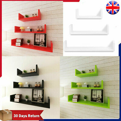 SET OF 3 FLOATING WALL SHELVES Cubes DISPLAY/STORAGE SHELVING BOOK/DVD SHELF MDF