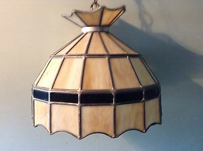 Vintage Tan Brown Marbled Leaded Glass Chandelier Swag Light Fixture Billiard